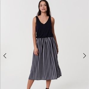 LOFT Striped Midi Dress
